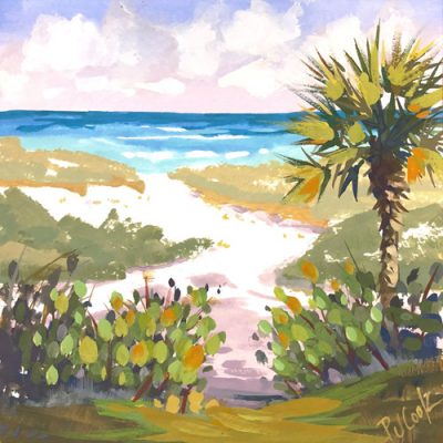 Beach path painting with palm tree and dunes to the ocean by artist PJ Cook.