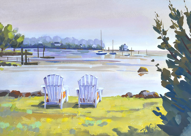 "Harborside, 10"" x 14"" gouache painting of adirondack chairs overlooking a harbor."