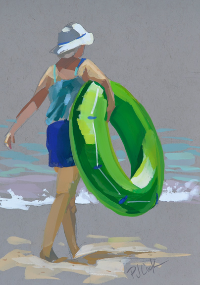 Lime Green Swim Tube, 5x7 gouache on toned grey paper, beach art.