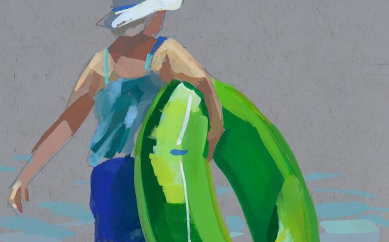 Lime Green Swim Tube, 5x7 gouache on toned grey paper, beach art.