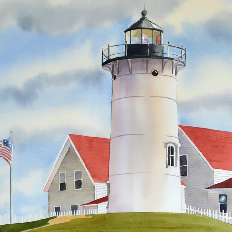 "Cape Cod Lighthouse watercolor, 18"" x 24"" original on paper. Closeup of the light."