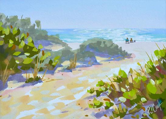 """Seaside Morning Beach Scene, 5""""x 7"""" gouache on paper, ©2018 PJ Cook."""