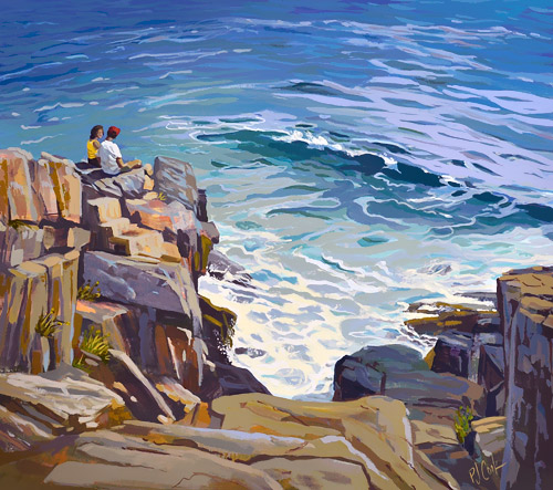 """ocean sounds from a rocky shore is a 23"""" x 26"""" oil painting."""