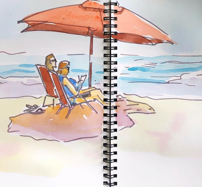 beach sketch with watercolor and line, PJ Cook, ©2019