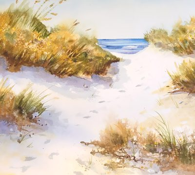 Waterside moments of a beach path leading to the sea, watercolor painting.