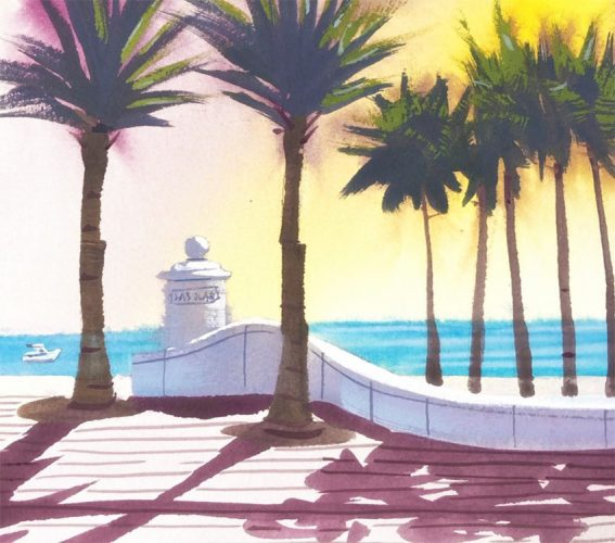 how to painting tutorial from ft lauderdale beach, with palm trees