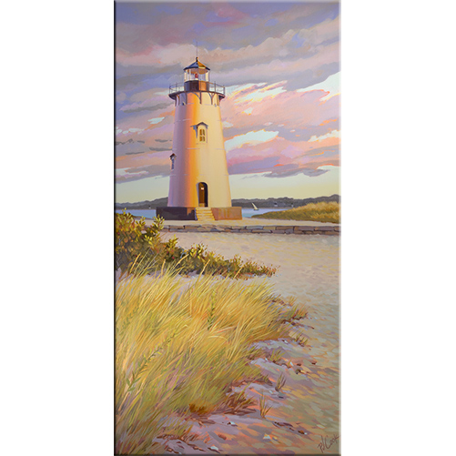 Edgartown Lighthouse, oil on canvas painting by PJ Cook.