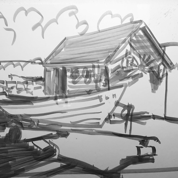 quick sketch of a shed and small boat.