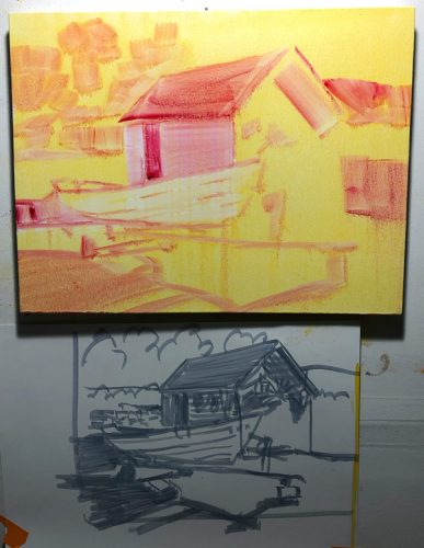 underpainting done in yellow for this oil painting